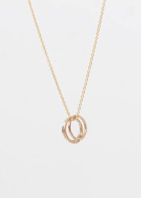 Mixed Metal Triple Ring Necklace