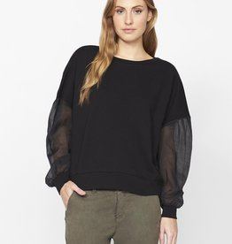 Sanctuary Sheer Sleeve Sweatshirt- Black