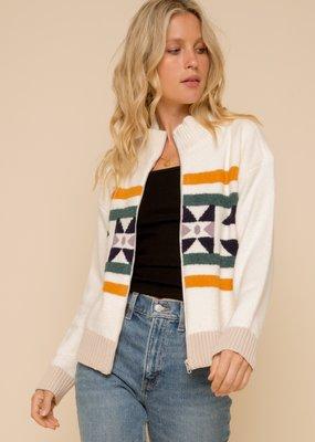 Hem & Thread Zip Up Mock Neck Jacket