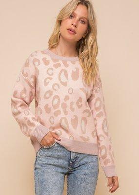 Hem & Thread Pink Leopard Sweater