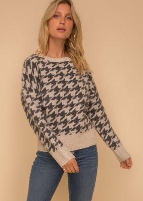 Hem & Thread Hound Tooth Jacquard Sweater