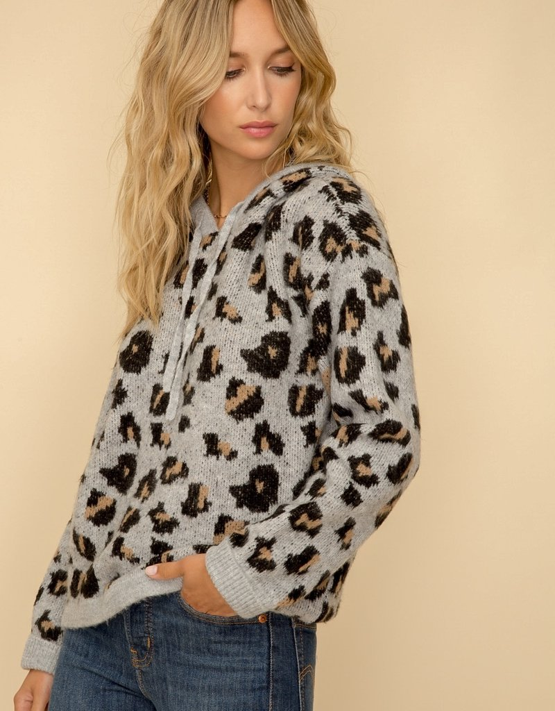 Gray Leopard Print Hooded Sweater