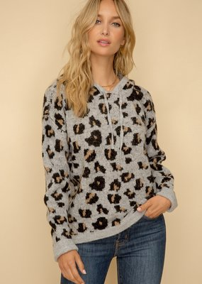 Hem & Thread Gray Leopard Print Hooded Sweater