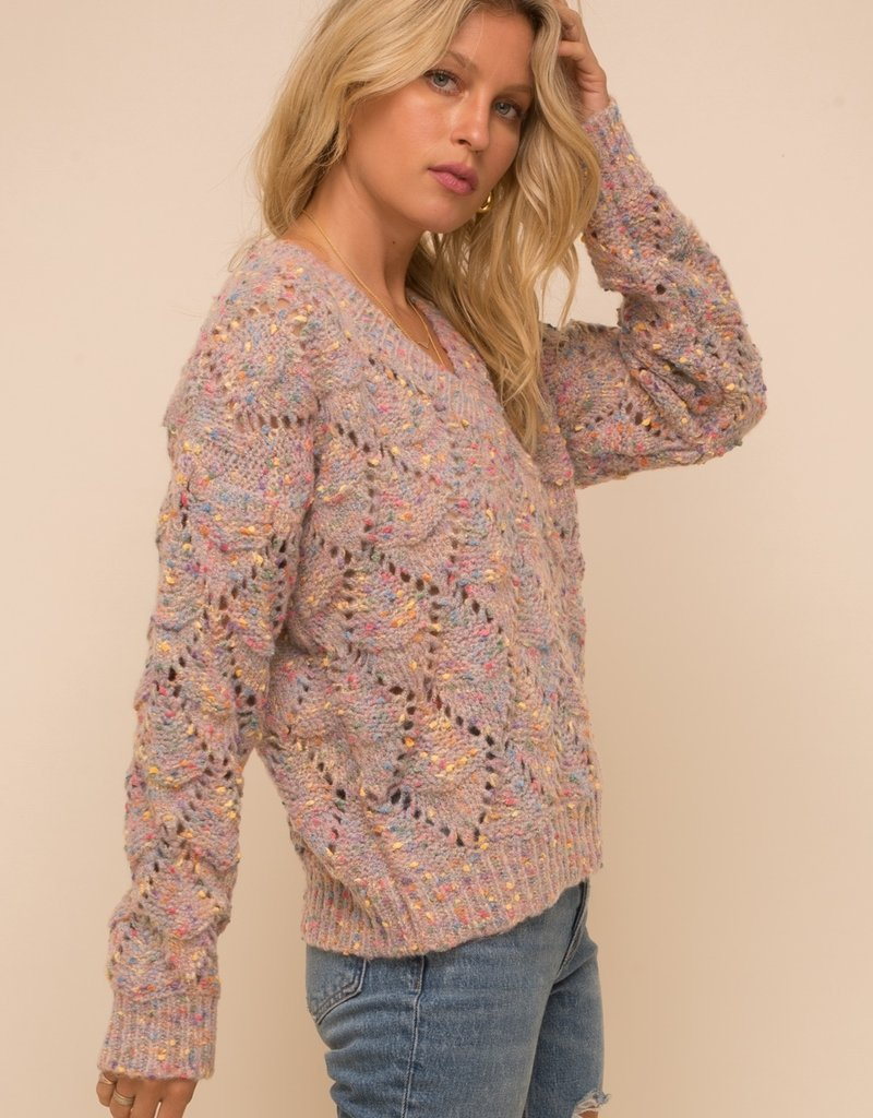 Hem & Thread Multicolor V-neck Sweater