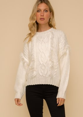 Hem & Thread Cable Knit Fringe Sweater