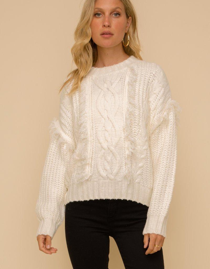 Hem & Thread Cable Knit Fringe Sweater