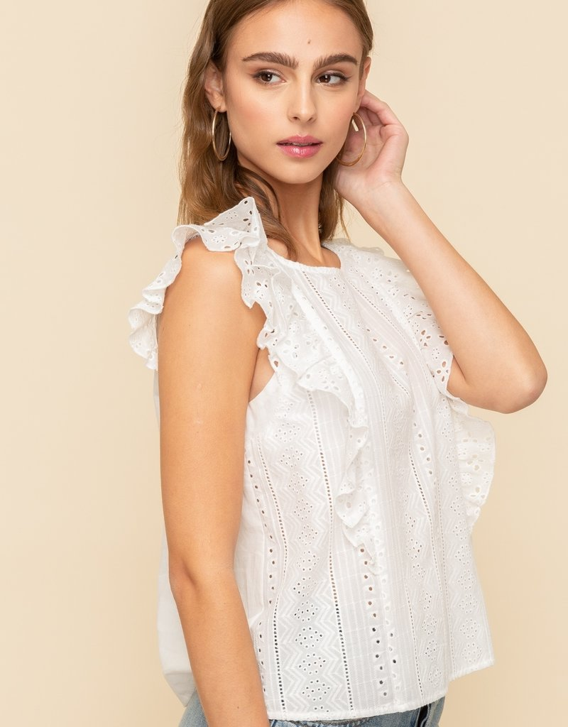 Hem & Thread Ruffle Sleeve Top
