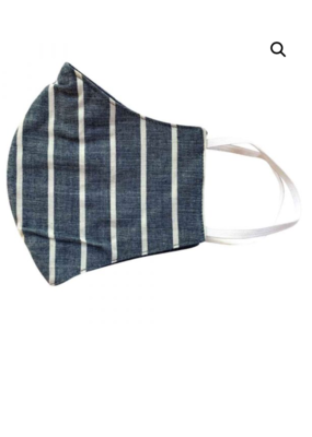 Malia Navy Khaki Stripe Mask