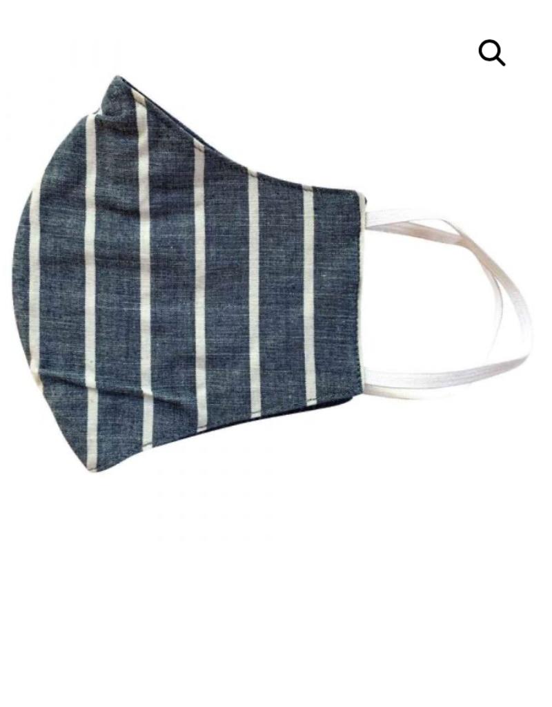 Malia Navy Khaki Stripe Mask