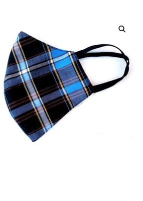 Malia Navy Plaid Mask