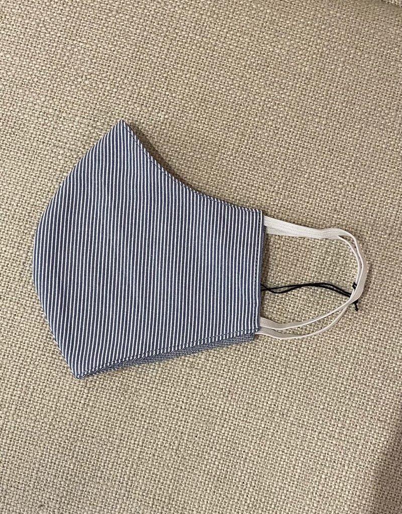 Malia Navy Mini Pin Stripe Mask