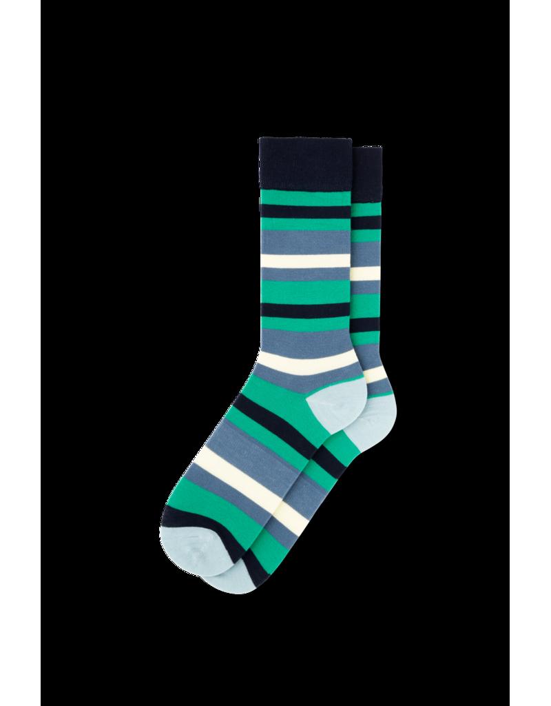 Fun Socks Blue Green Striped Classic Crew Socks