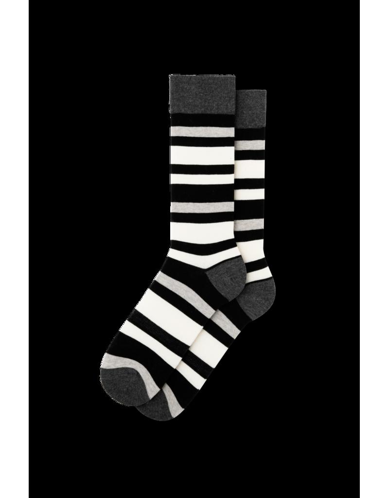 Fun Socks Gray Black Striped Dress Crew