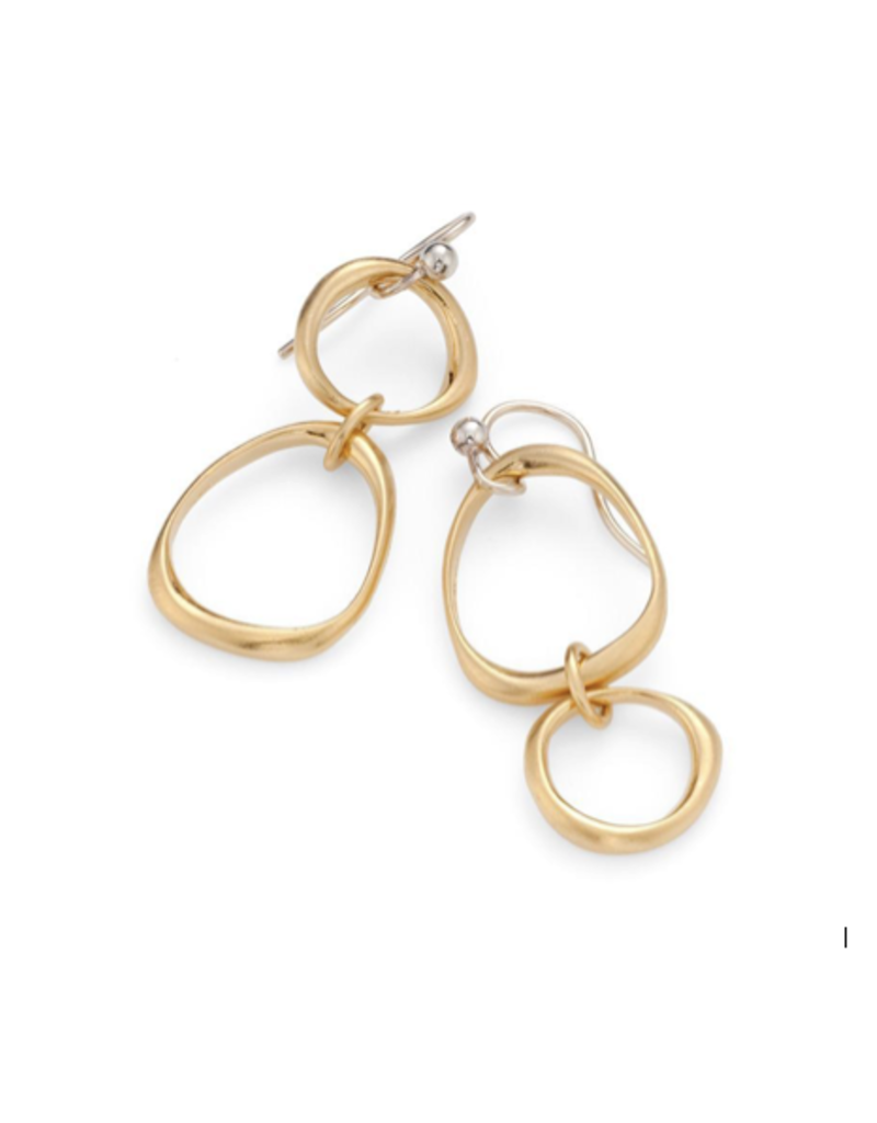 Large And Small Organic Circle Vermeil Earrings