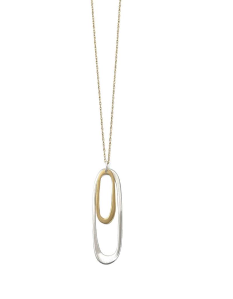 Small And Large Oval SS and Vermeil Necklace
