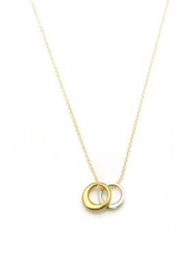 """Philippa Roberts Two Little Circles 16"""" Mixed Metals Necklace"""