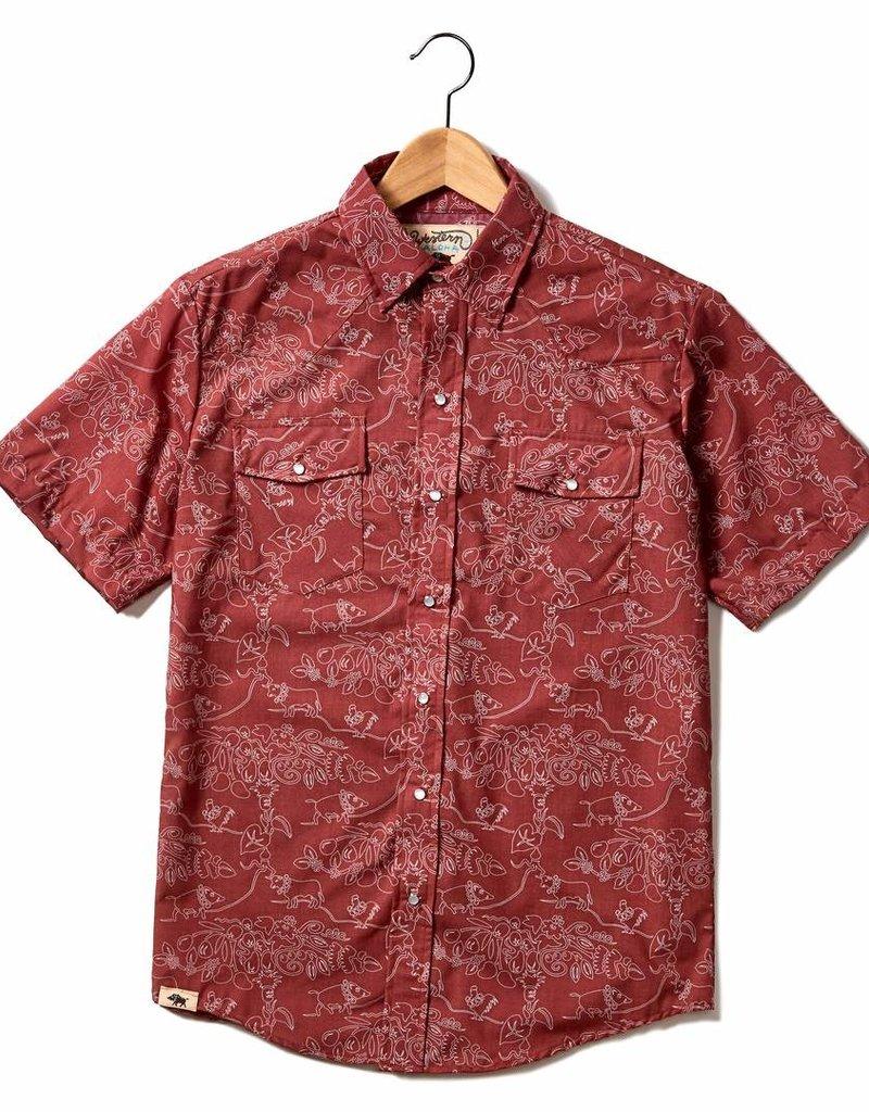 Western Aloha Luau Tree Kauai Red