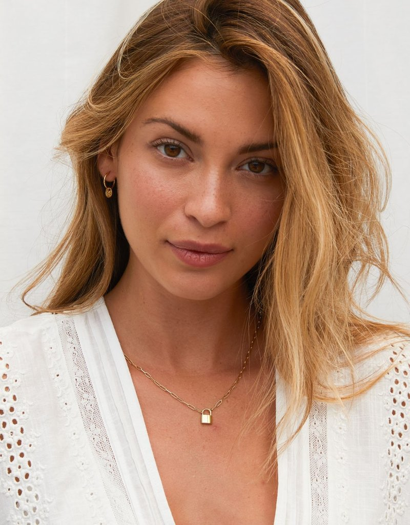 Kris Nations Large Padlock Necklace- 18k Gold Vermeil