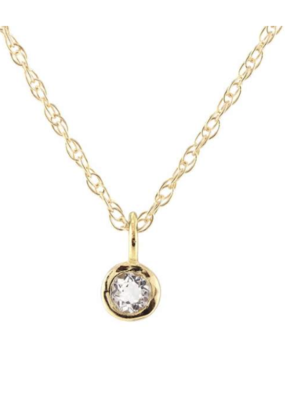 Kris Nations Gemstone Charm Necklace- White Topaz and Gold