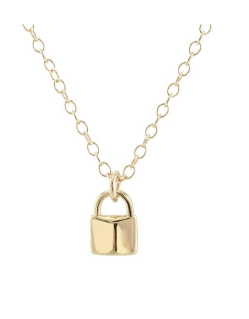 Kris Nations Padlock Charm Necklace Gold