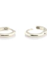 Kris Nations Classic Hinged Huggie Hoop Earrings Silver