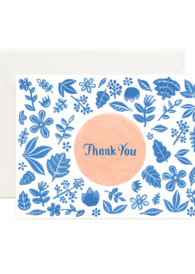 Blue and Peach Florals Card