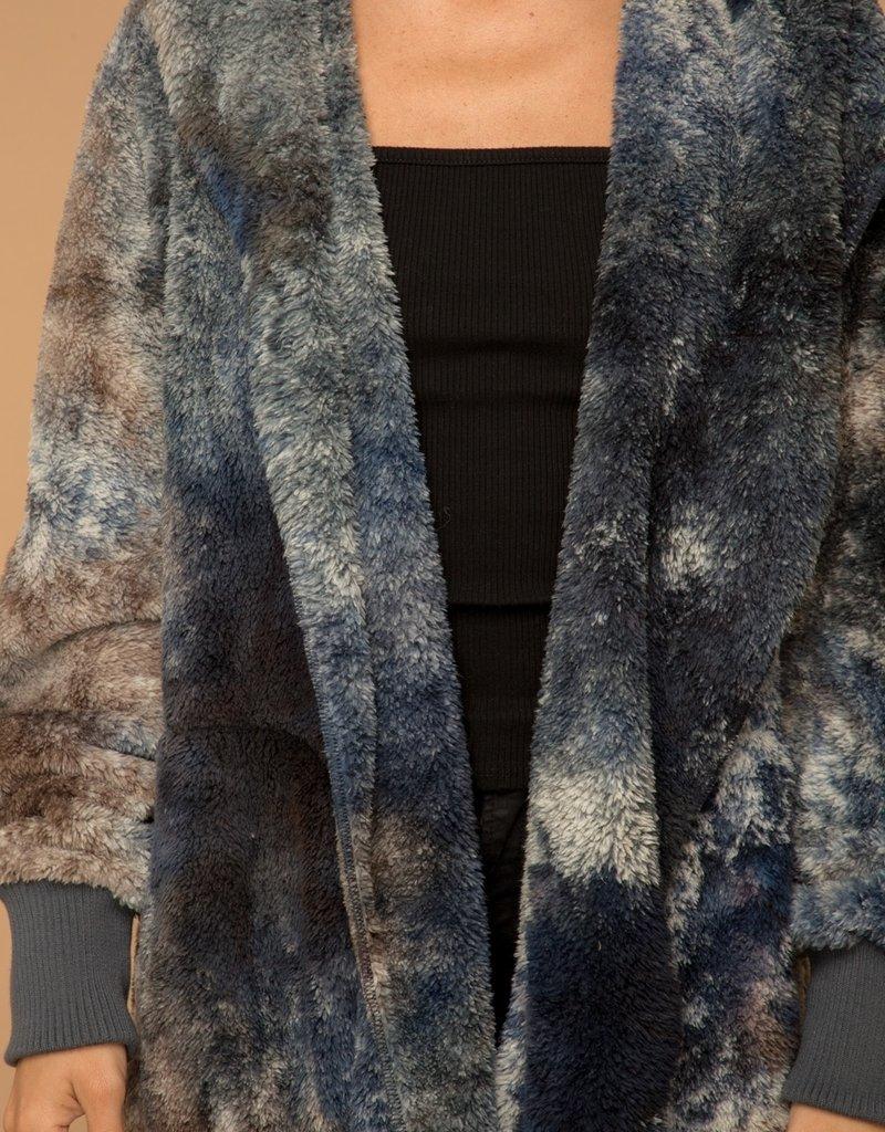 Sherpa Hoody Wrap-Indigo Tie Dye