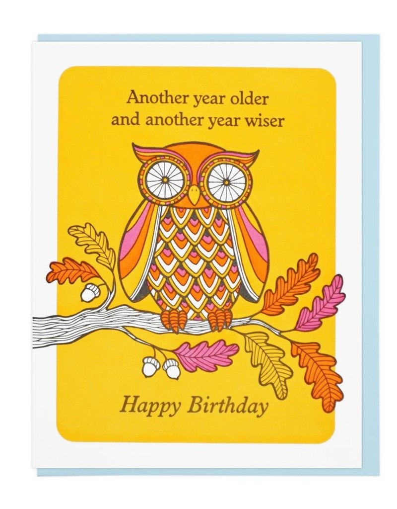Lucky Horse Press Older And Wiser Owl Birthday