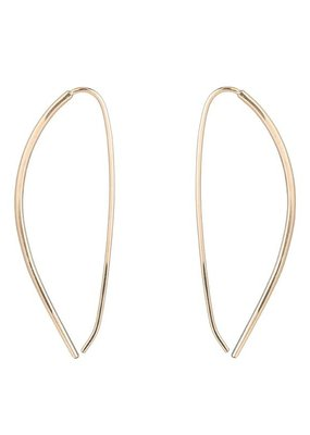"""Colleen Mauer Large Yellow Gold """"Mercury"""" Pull-Through Hoop Earrings"""