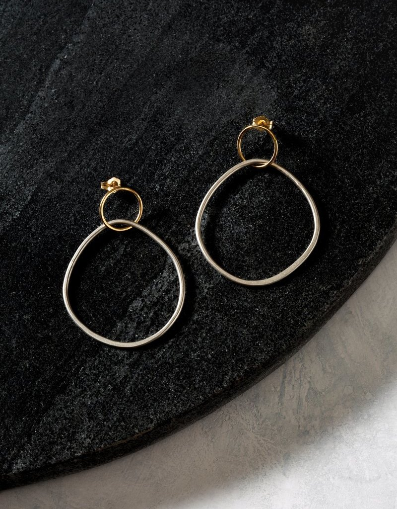 Colleen Mauer Interlocking Circle & Pear Post Earrings- Silver & Yellow Gold