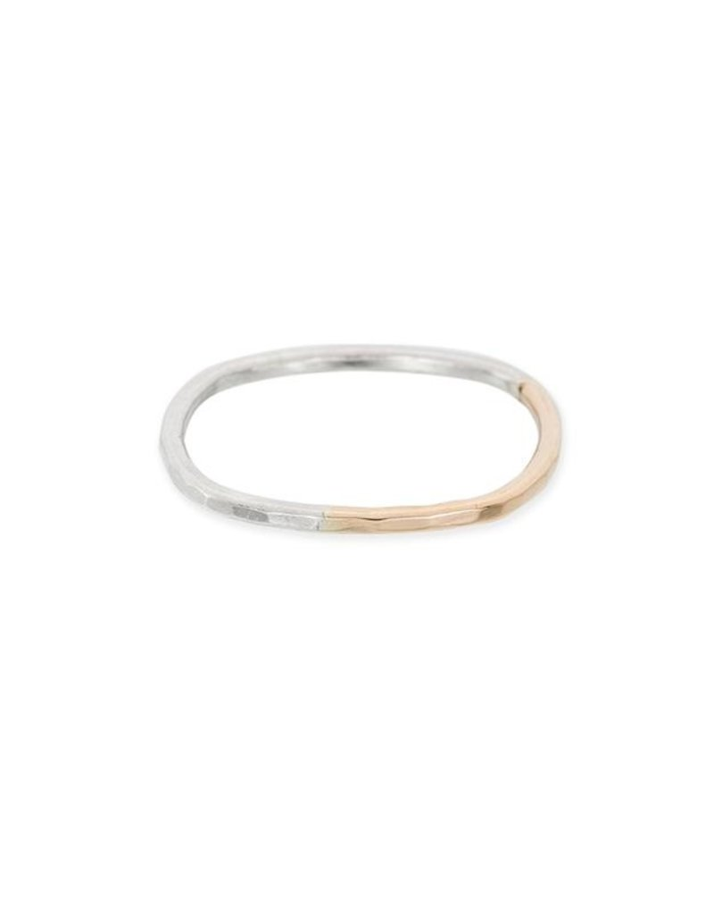 Colleen Mauer Thick Individual Round Gradient Ring- Silver & Yellow Gold