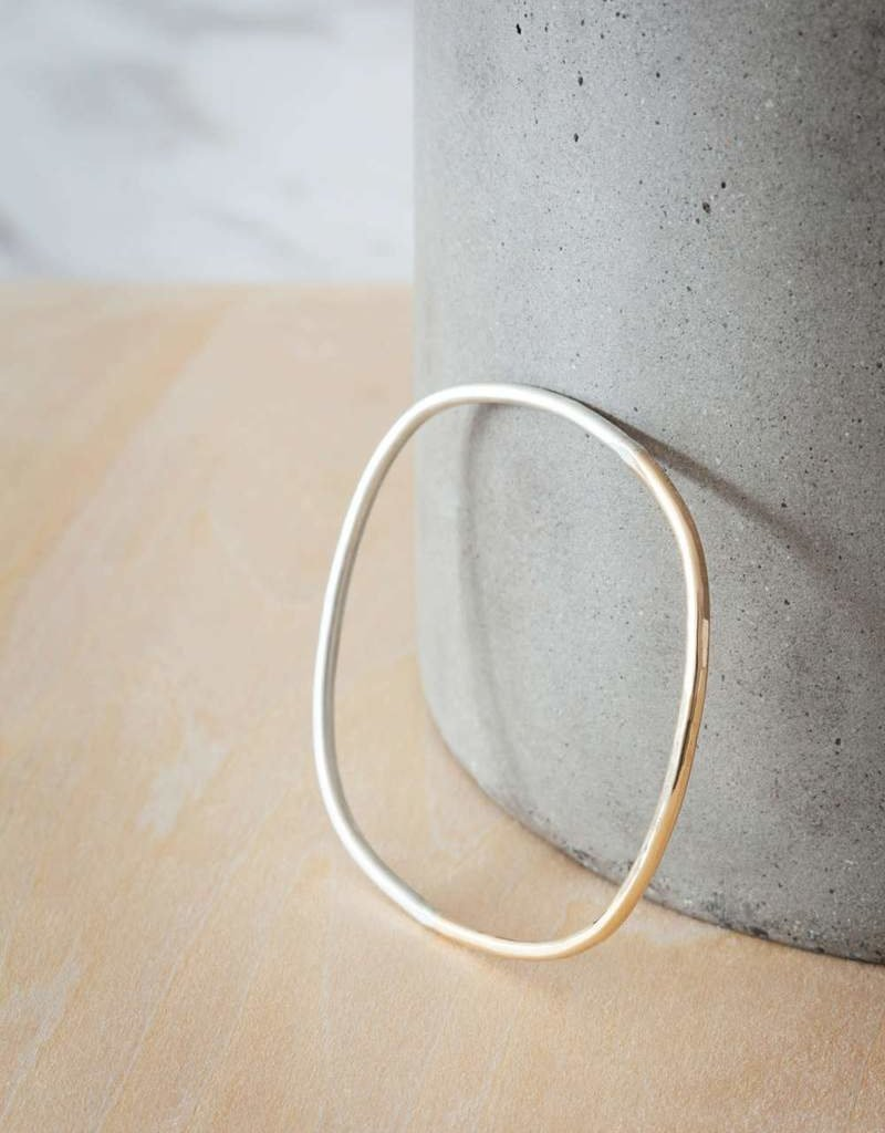 Colleen Mauer Thick Silver & Yellow Gold Square Bangle