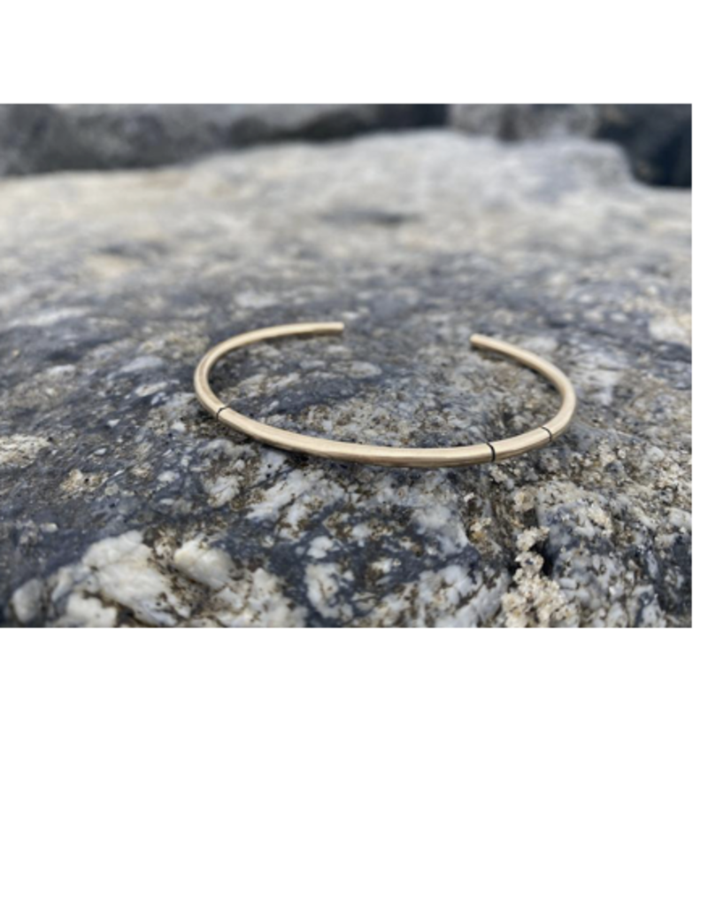 """Colleen Mauer Yellow Gold 2.5mm """"Duality"""" Cuff Bracelet"""
