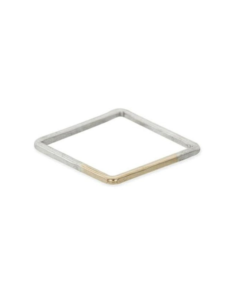 Colleen Mauer Thick Square Gradient Ring- Silver & Yellow Gold