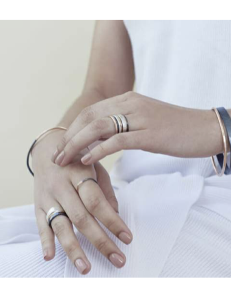 Colleen Mauer 5-Stack Tri-Toned Round Ring Set- Silver, Yellow Gold & Oxidized Silver