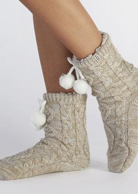 Ugg W's Pom Pom Fleece Lined Crew Socks