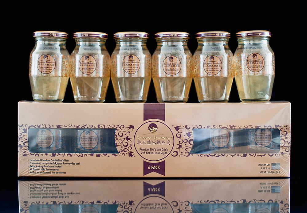 """Menara Persada Abadi Inc. MPA BLESSING BIRDNEST DRINK 150MLX6 PACK - """"Đề Kháng Qua Bồi Bổ"""" Nước Yến Nguyên Chất Indonesia (Bộ 6 Chai 150ml)"""