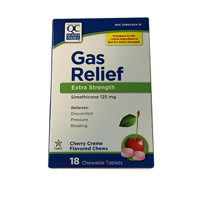 QC QC GAS RELIEF CHEWABLE CHERRY 18CT