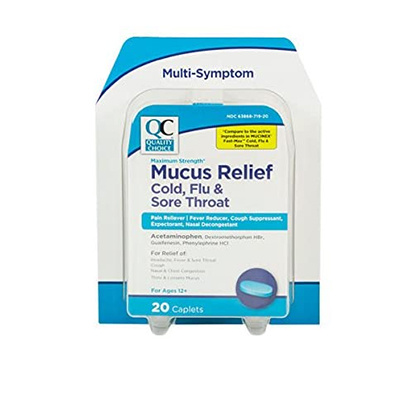 QC QC MUCUS RELIEF COLD/FLU/SORE 20CT