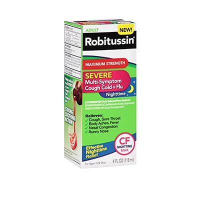 ROBITUSSIN ROBITUSSIN MAXIMUM STRENGTH SEVERE MULTI-SYMPTOM COUGH COLD + FLU 8 OZ