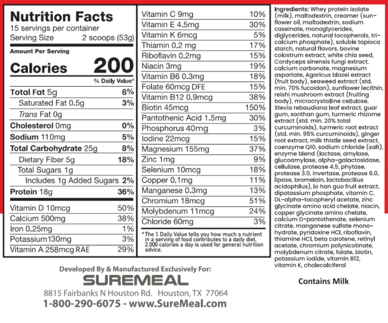 ND SUREMEAL VITAL VANILLA 1.9 LB (RED) - Sữa Bổ Tăng Cường Sức Khỏe, Hồi Sức (Mùi Vani) - 1 Hộp 1.9lb