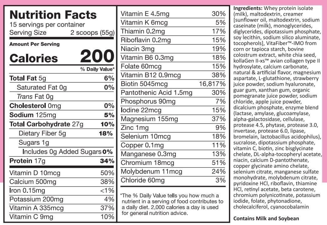 NUTRITION DEPOT ND SUREMEAL BEAUTY 1.8 LB (PINK) - Sữa Bột Đẹp Da, Tóc, Móng   - 1 Hộp 1.8lb