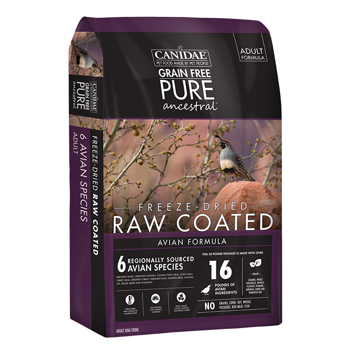 CANIDAE Canidae PURE Ancestral Grain Free Avian Recipe with Quail, Chicken, & Turkey Raw Coated Dry Dog Food