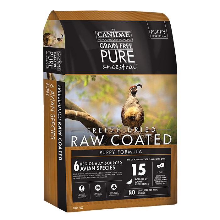 CANIDAE Canidae PURE Ancestral Grain Free Avian Puppy Recipe with Quail, Chicken, & Turkey Raw Coated Dry Dog Food