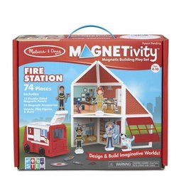 Melissa & Doug Magnetivity Magnetic Building Play Set (Fire Station)