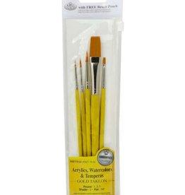 Brush Set - Gold Taklon - Round/Shader/Flat (5pc)