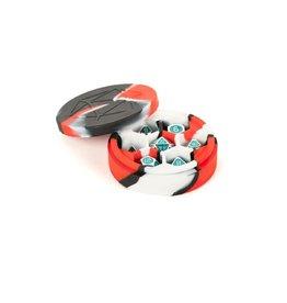 Dice Case - Round Silicone Red/Black/White