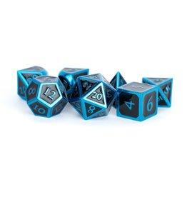 Metal Dice Set (Blue w/ Black Enamel)