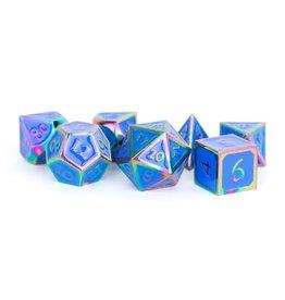 Metal Dice Set (Rainbow w/ Blue Enamel)