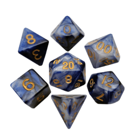 Polyhedral Dice Set (Combo Blue-White/Gold)